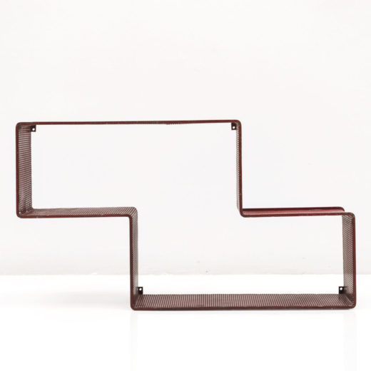 RED DEDAL SHELF, PERFORATED STEEL, CIRCA 1950