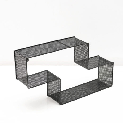 BLACK DEDAL SHELF, PERFORATED STEEL, CIRCA 1950