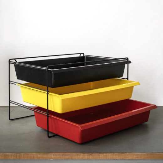 Drawers in coloured molded plastic by Charlotte Perriand