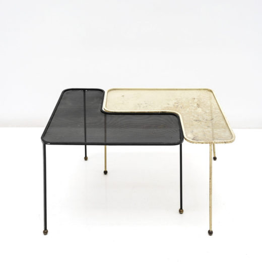 PAIR OF DOMINO TABLE, BLACK&YELLOW METAL